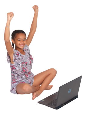 woman with computer on her lap in office chair with hands in the air excitement